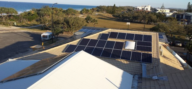 Solar panels on the roof of Kawana SLSC